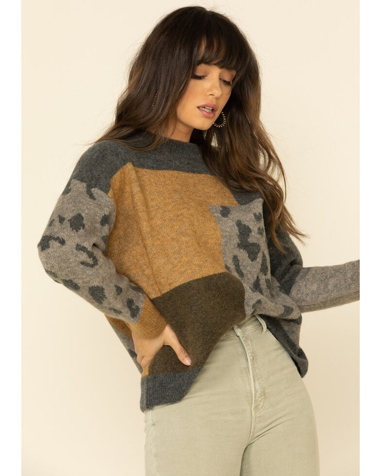 Mystree Women's Charcoal Leopard Patchwork Pullover Sweater, Charcoal, hi-res