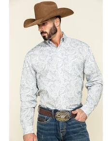 Stetson Men's Plum Paisley Print Button Long Sleeve Western Shirt , Grey, hi-res