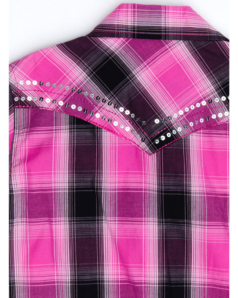 Cowgirl Hardware Girls' Pink Plaid Sequin Long Sleeve Western Shirt , Pink, hi-res