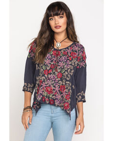 Johnny Was Women's Leopard Rose Blouse, Grey, hi-res