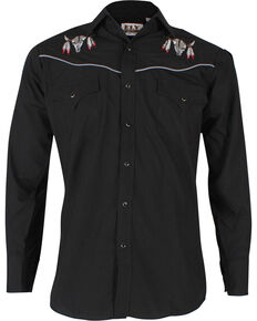 Ely Walker Men's Embroidered Cow Skull Long Sleeve Western Shirt, Black, hi-res