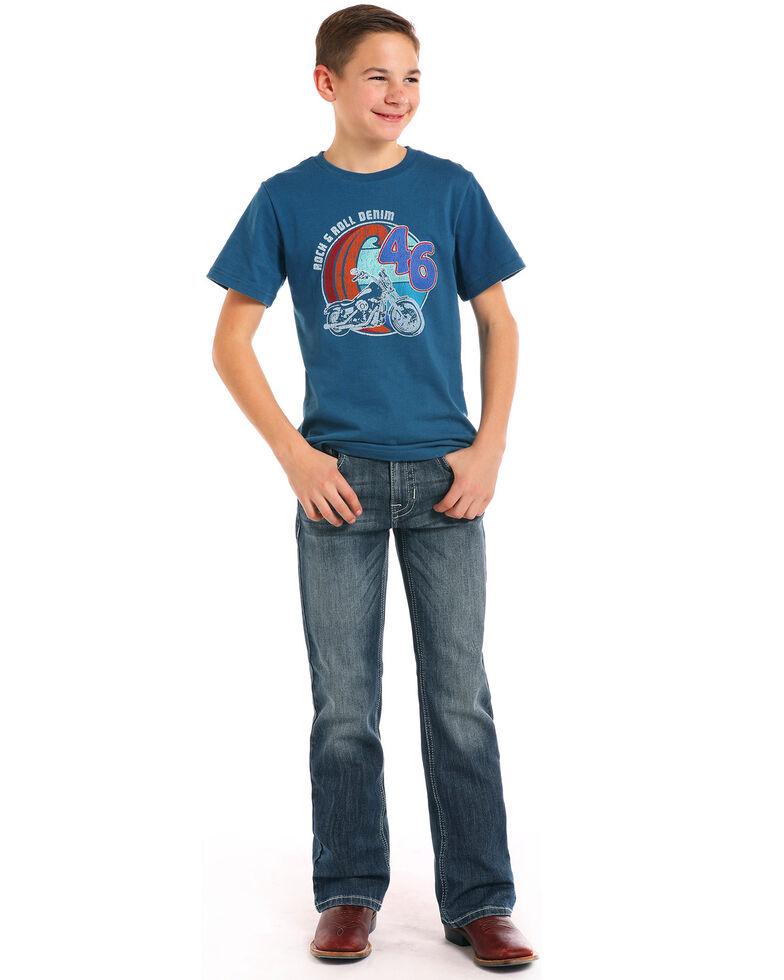 Rock & Roll Cowboy Boys' Double V Reflex Medium Boot Jeans , Blue, hi-res