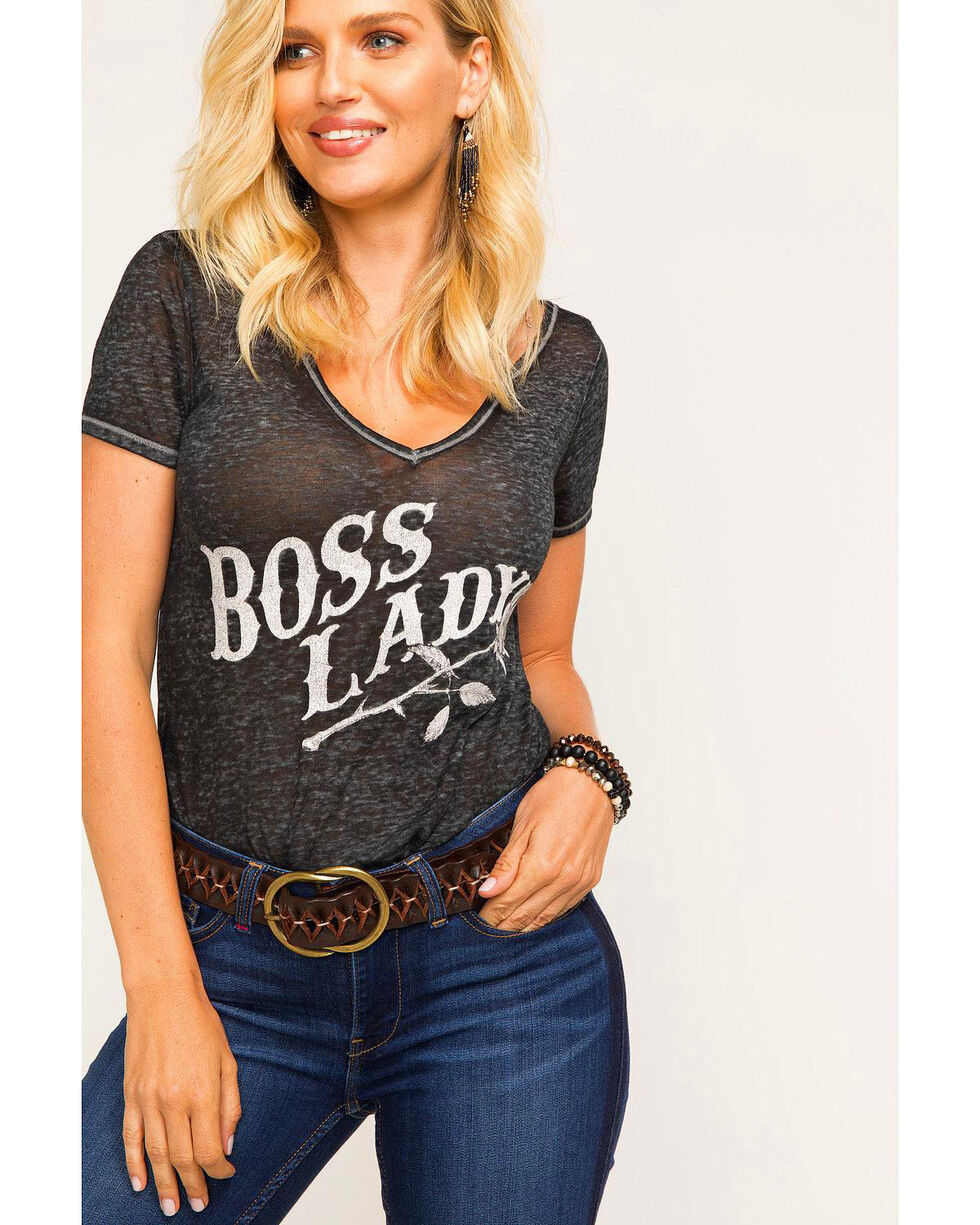 Idyllwind Women's Boss Lady Strappy Tee , Charcoal, hi-res