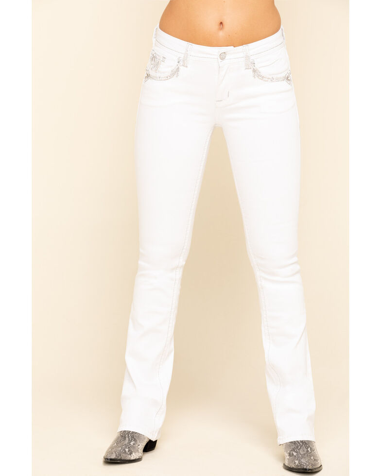 Grace in LA Women's White Silver Embroidered Bootcut Jeans , White, hi-res