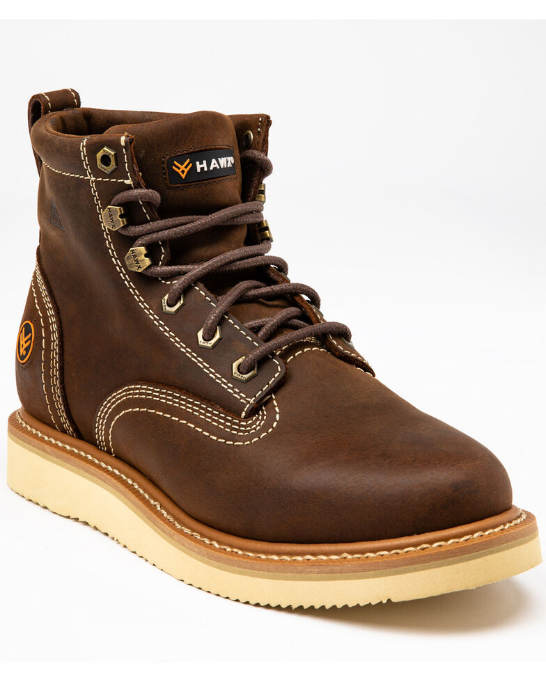 "Hawx Men's 6"" Lacer Work Boots - Soft Toe, Brown, hi-res"