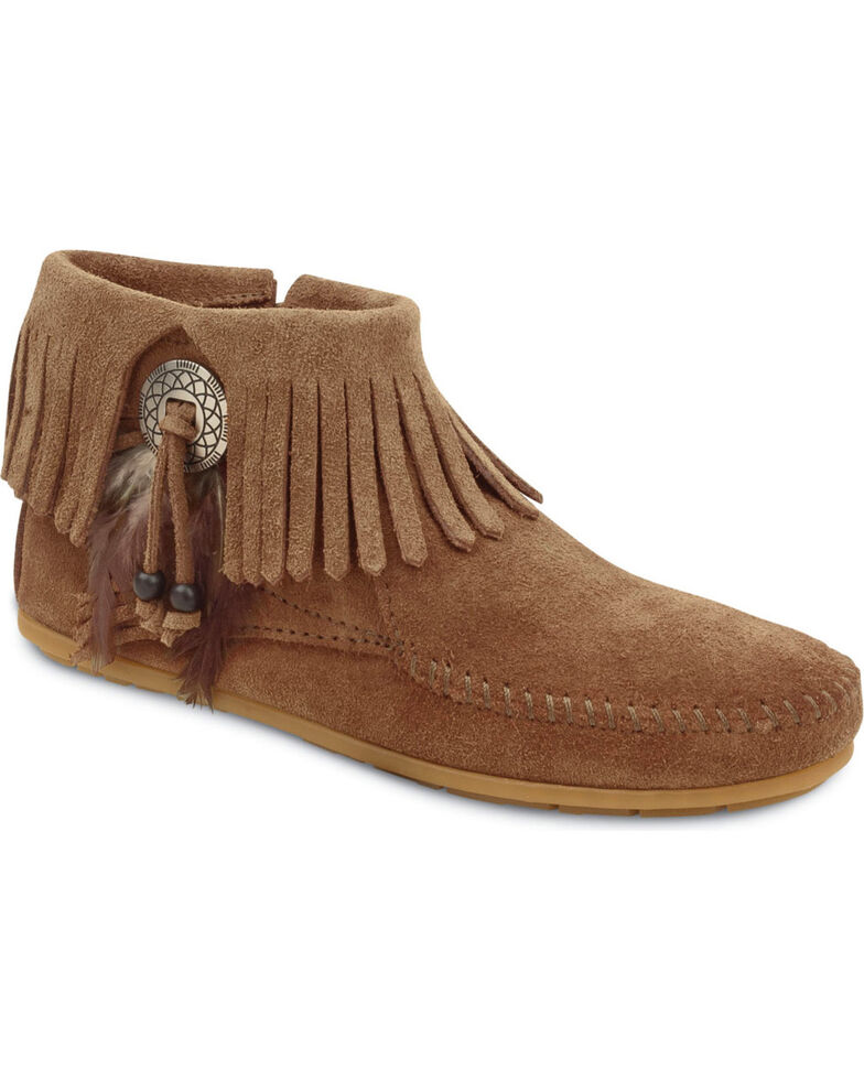 Minnetonka Feather & Concho Fringe Bootie Moccasins, Taupe Stp, hi-res