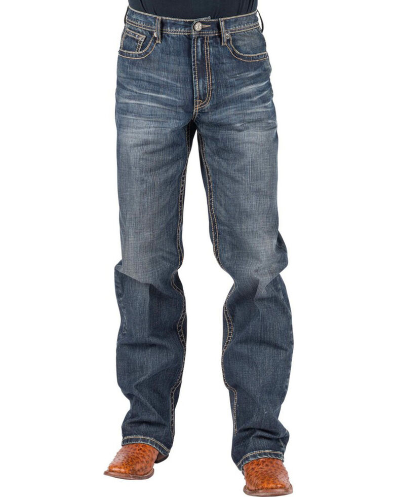 Tin Haul Men's Regular Joe Fit Red Deco Stitching Bootcut Jeans, Indigo, hi-res