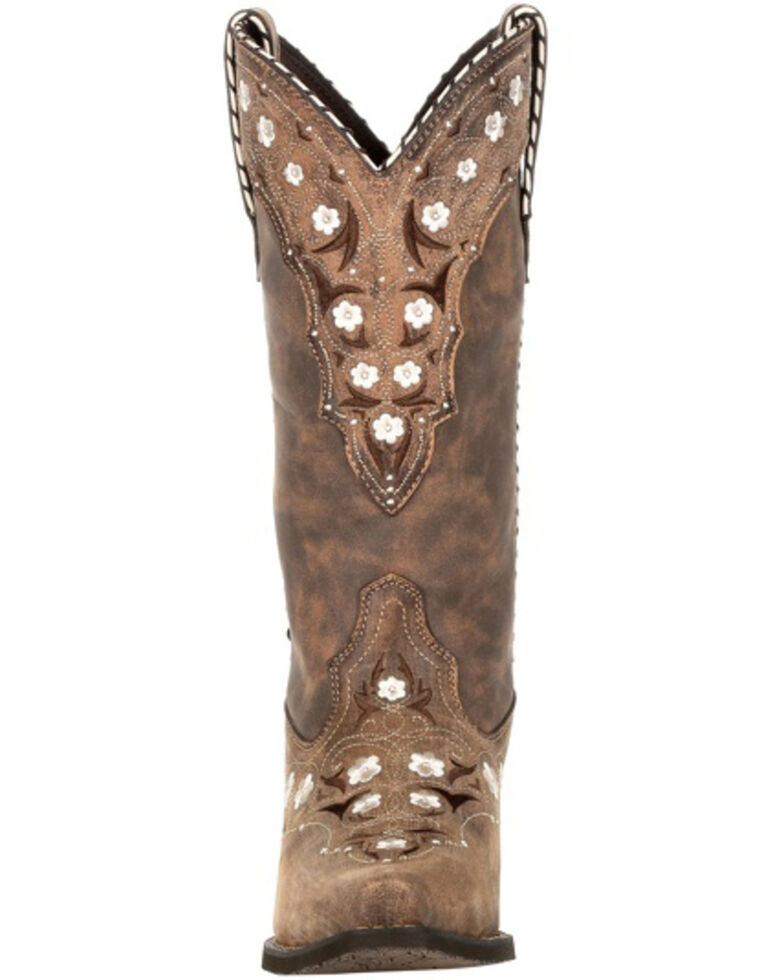 Durango Women's Driftwood Floral Western Boots - Snip Toe, Brown, hi-res