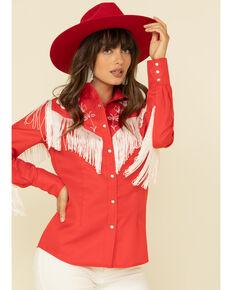 H Bar C Women's Red Taos Fringe Long Sleeve Western Shirt  , Red, hi-res