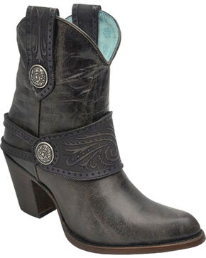 Corral Women's Tooled Harness Western Boots, Black, hi-res