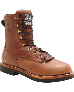 "Georgia Men's 8"" Lacer Work Boots, Walnut, hi-res"
