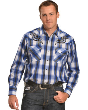 Ely Cattleman Men's Navy Plaid Embroidered Western Shirt, Navy, hi-res
