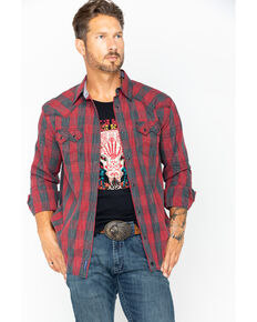 Moonshine Spirit Men's Arena Plaid Long Sleeve Western Shirt, Red, hi-res