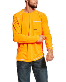 Ariat Men's Orange Rebar Sunstopper Long Sleeve Work Shirt , Orange, hi-res