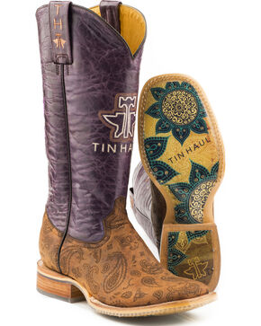 Tin Haul Women's Paisley Rain Flowerful Sole Cowgirl Boots - Square Toe, Brown, hi-res
