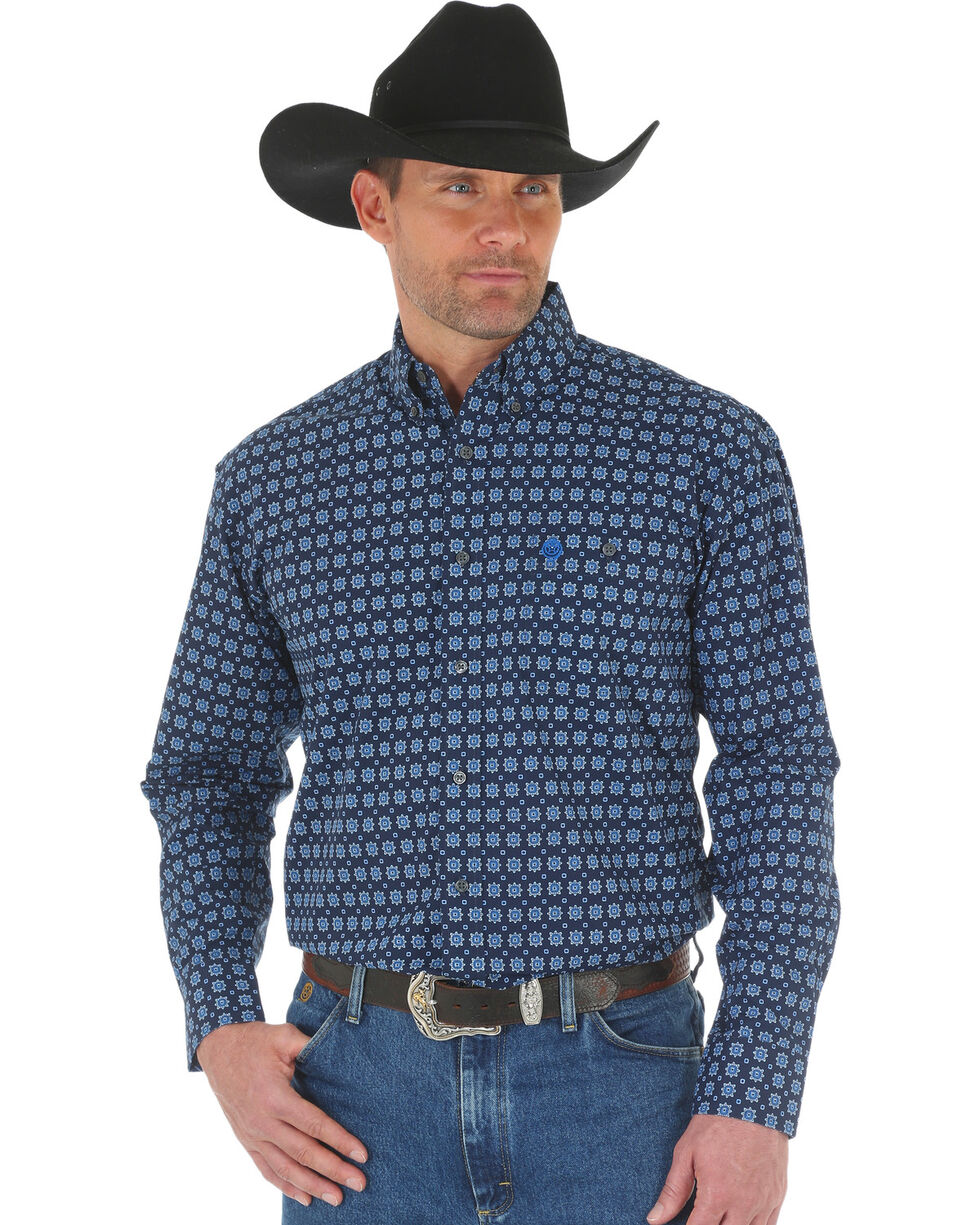 George Strait by Wrangler Men's Blue Printed Poplin Button Shirt, Blue, hi-res