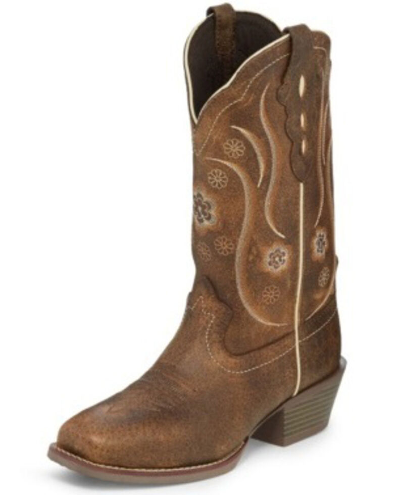 Justin Women's Brown Buffalo Western Boots - Square Toe, Brown, hi-res