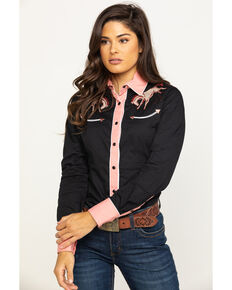 Rock & Roll Cowgirl Women's Retro Bucking Broncos Long Sleeve Western Shirt , Black, hi-res