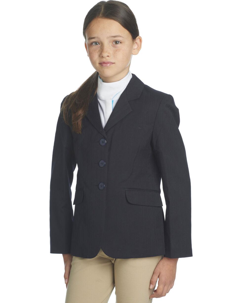 Ovation Girls' Navy Herringbone Sport Riding Jacket, Navy, hi-res