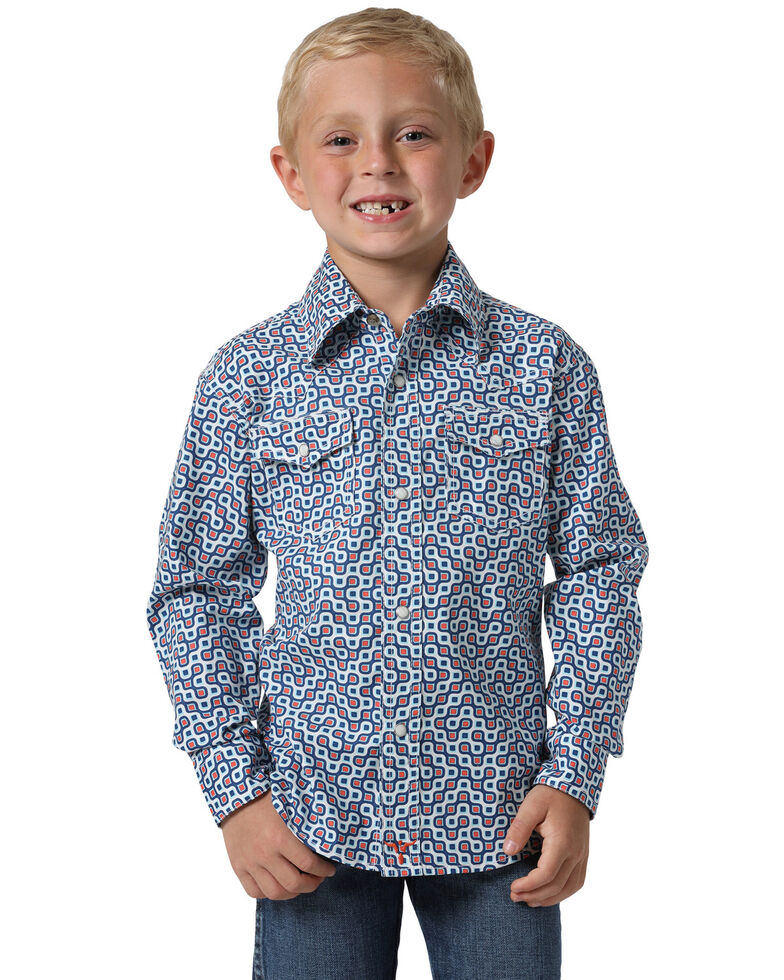 Wrangler 20X Boys' Navy Geo Print Advanced Comfort Long Sleeve Western Shirt , Navy, hi-res