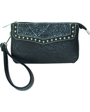 Savana Women's Faux Leather Clutch Zip Wristlet , Black, hi-res