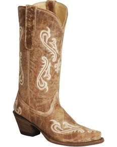 Corral Women's Cortez Cliff Embroidered Western Boots, Tan, hi-res