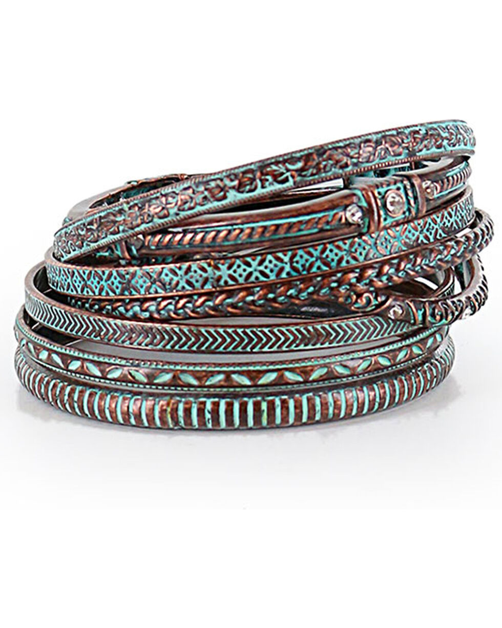 Shyanne® Women's Bronze and Turquoise Bangle Set, Turquoise, hi-res