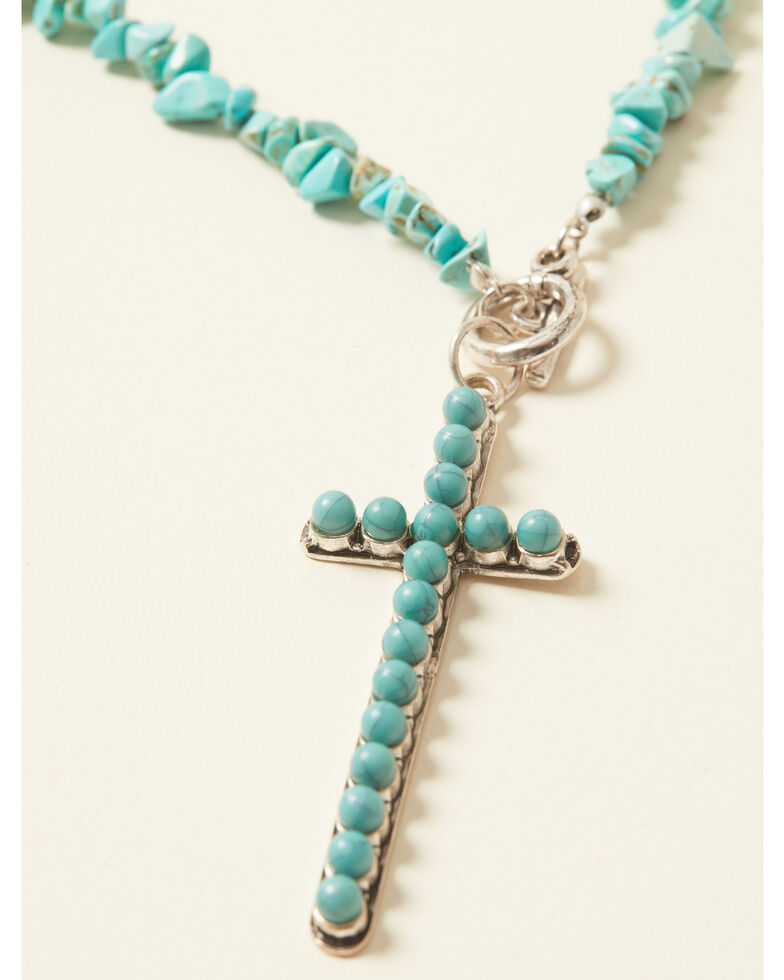 Shyanne Women's Bella Grace Cross Turquoise Beaded Necklace, Silver, hi-res