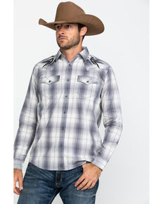 Moonshine Spirit Men's Tomahawk Plaid Embroidered Yoke Long Sleeve Western Shirt , Grey, hi-res