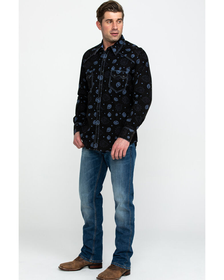 Rock & Roll Cowboy Men's Paisley Print Poplin Long Sleeve Shirt , Light Blue, hi-res