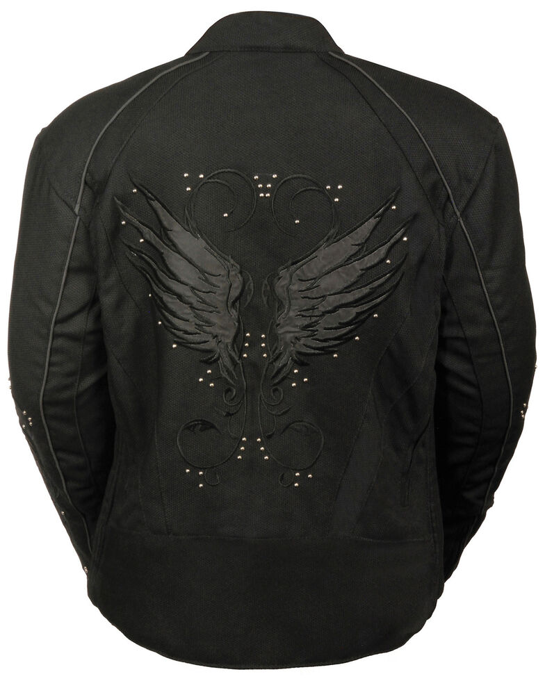 Milwaukee Leather Women's Textile Jacket w/ Stud & Wings Detailing - 3X , , hi-res