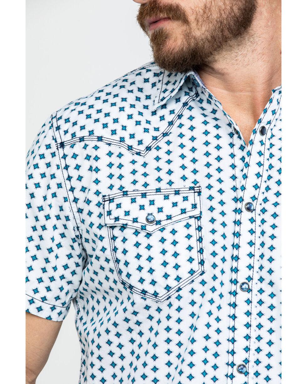 Moonshine Spirit Men's Electricity Geo Print Short Sleeve Western Shirt , White, hi-res