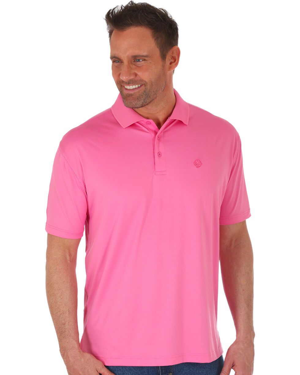 Wrangler George Strait Men's Pink Performance Polo , Pink, hi-res