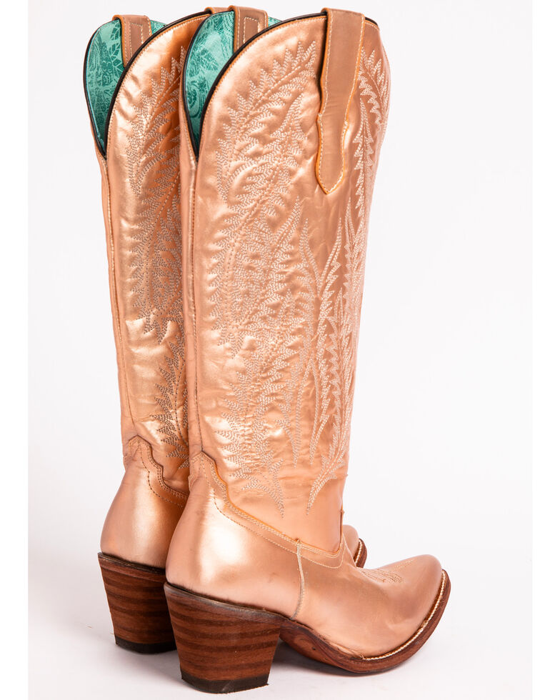 Corral Women's Gold Embroidery Tall Top Cowgirl Boots - Pointed Toe , Gold, hi-res