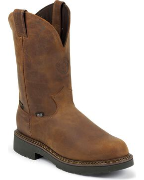 "Justin Men's 10"" Rugged Waterproof Western Work Boots, Aged Bark, hi-res"
