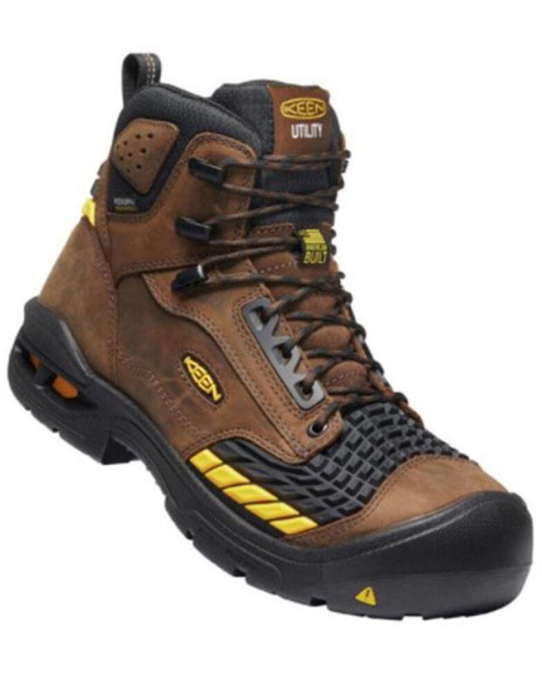 Keen Men's Troy Waterproof Work Boots - Soft Toe, Brown, hi-res