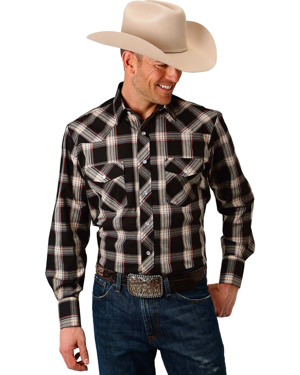 Roper Men's Black & Tan Plaid Long Sleeve Snap Shirt, Black, hi-res
