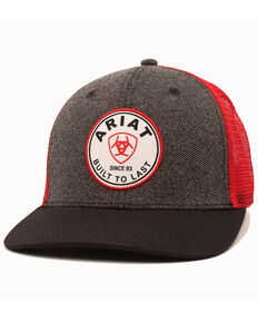 Ariat Men's Grey Brand Circle Patch Mesh Cap, Grey, hi-res