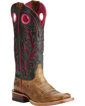 Ariat Women's Chute Out Croc print Western Boots, Tan, hi-res