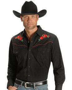 Ely Cattleman Men's Solid Embroidered Rose Long Sleeve Western Shirt, Black, hi-res