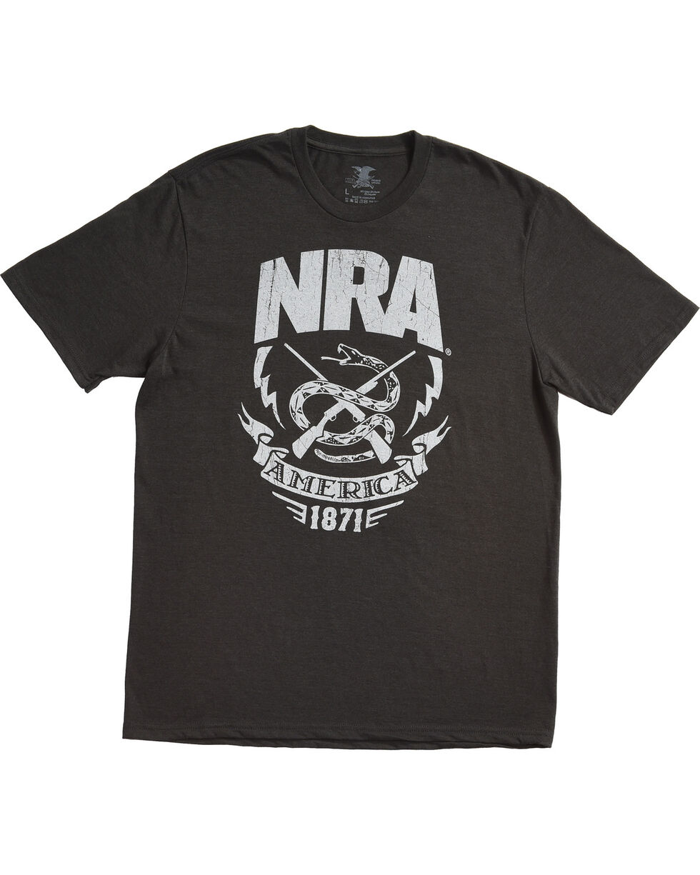 NRA Men's Black Rattlesnake & Lightning Premium Tee , Black, hi-res