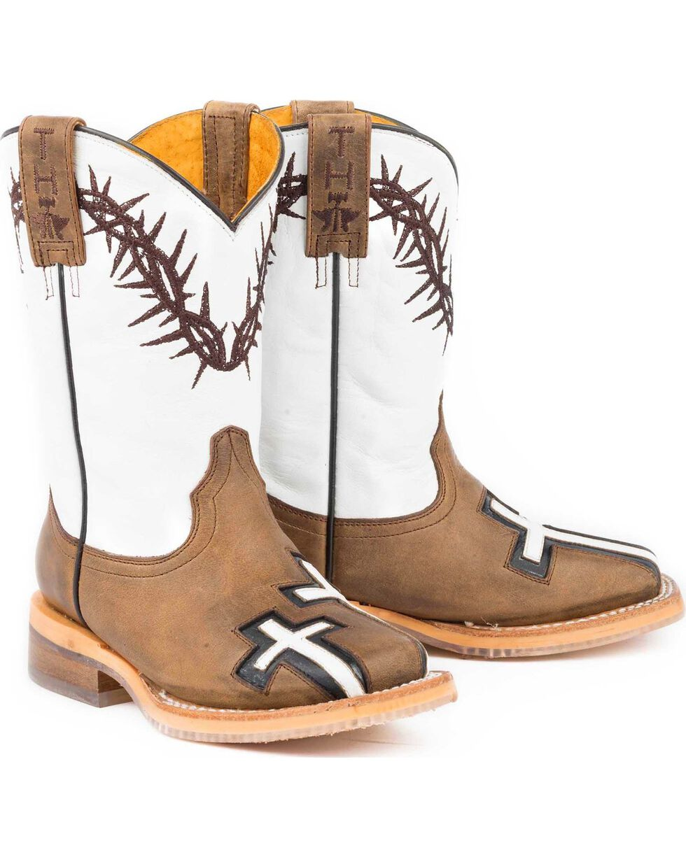 Tin Haul Boys' Tan Crosses Western Boots - Square Toe , Tan, hi-res