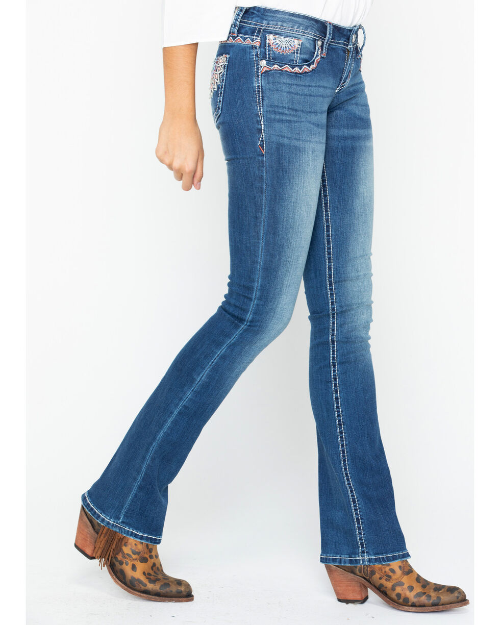Grace In LA Women's Junior Boot Cut Jeans, Indigo, hi-res