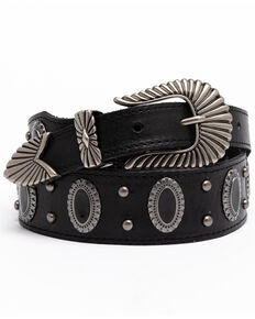 Shyanne Women's Black Oval Concho Studded Western Belt, Black, hi-res