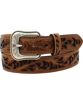 Ariat Men's Floral Pierced Shield Rope Belt , Tan, hi-res