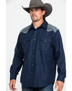 Pendleton Men's Navy Jacquard Solid Long Sleeve Western Flannel Shirt , Navy, hi-res
