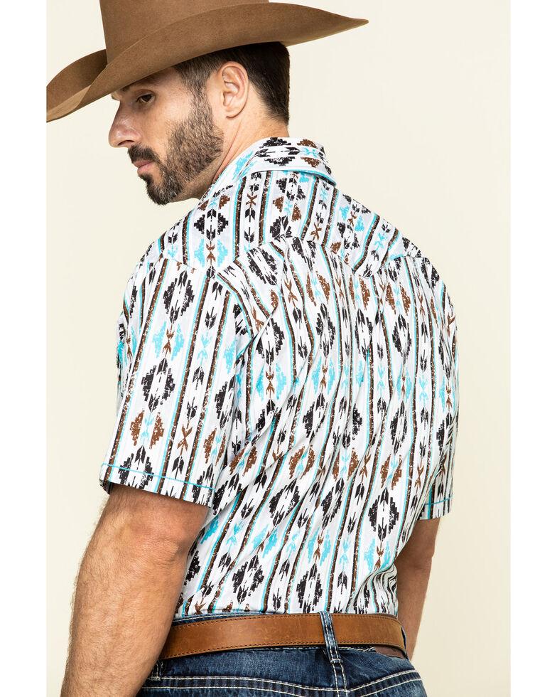 Rough Stock by Panhandle Men's Seneca Aztec Print Short Sleeve Western Shirt , White, hi-res