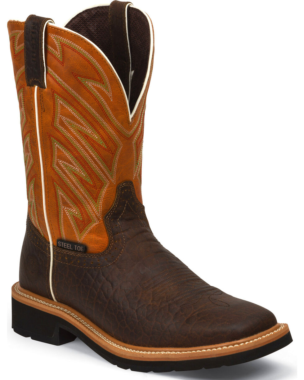Justin Men's Steel Toe Work Boots, Chestnut, hi-res