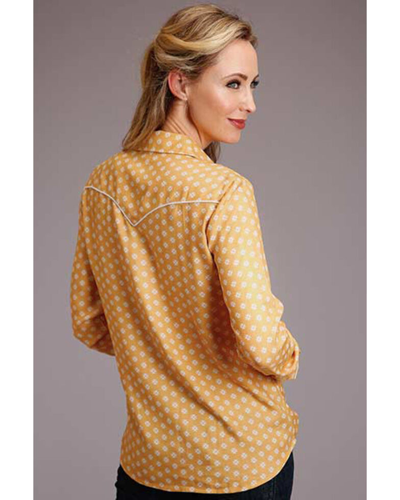 Stetson Women's Yellow Print Long Sleeve Snap Western Shirt , Yellow, hi-res