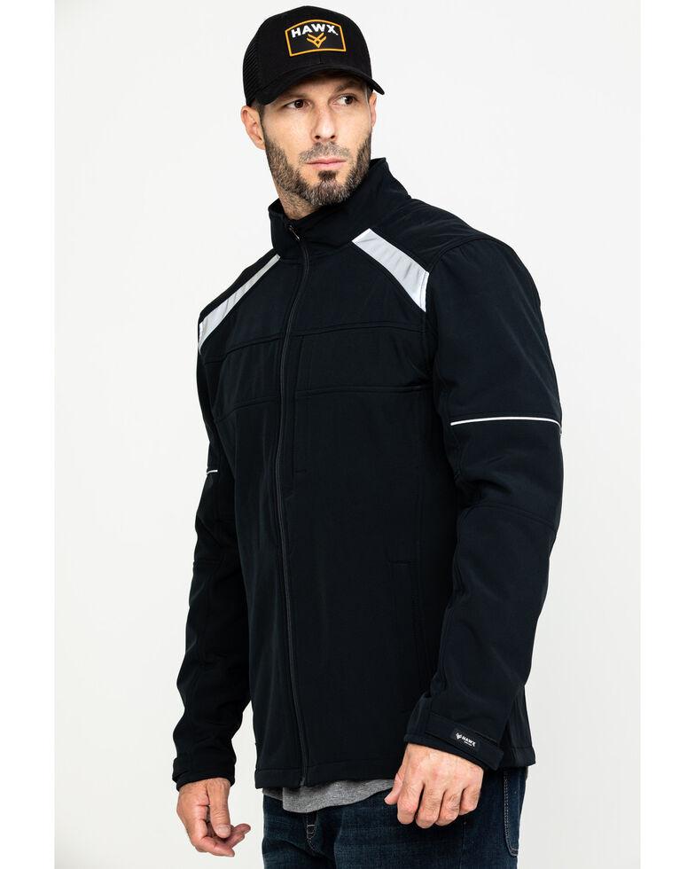 Hawx Men's Black Reflective Polar Fleece Moto Work Jacket - Tall , Black, hi-res